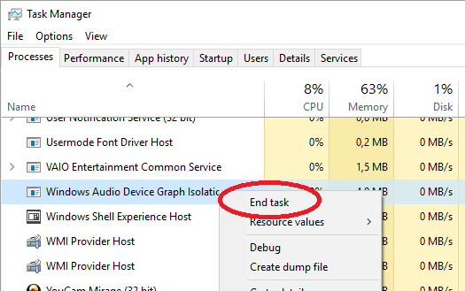Task Manager - Windows Audio Device Graph Isolation - End Task